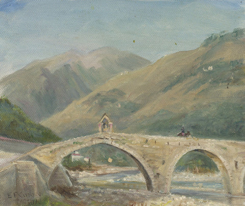 E.P. Corin, Medieval Bridge, Taggia, Italy - Early 20th-century oil painting