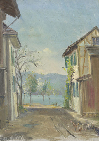 E.P. Corin, Riviera Village with Chickens - Early 20th-century oil painting