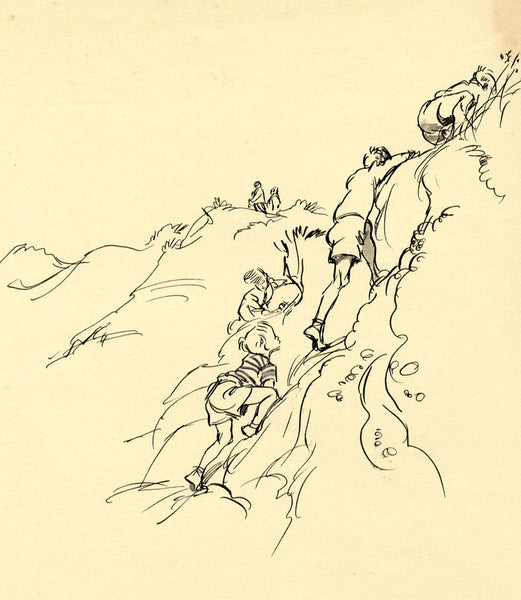 Louis Valentine, Boys Climbing the Rocks - Mid-20th-century pen & ink drawing