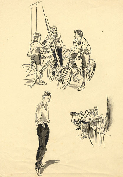 Louis Valentine, Young Teenagers at the Park -Mid-20th-century pen & ink drawing