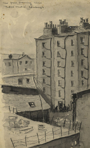 Louis Valentine, Tenements Empire Theatre Edinburgh Mid-20th-century ink drawing