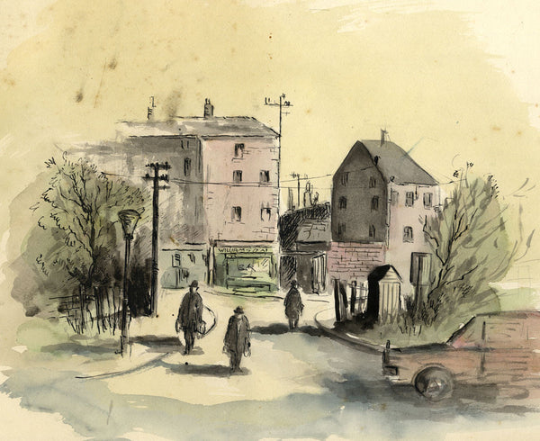 Louis Valentine, Town View at End of the Workday - Mid-20th-century ink drawing