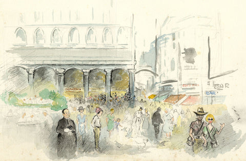 Louis Valentine, St Mark's Square, Venice Italy - Mid-20th-century watercolour