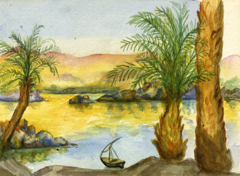 From Savoy Hotel, Elephantine Island, Egypt - Original 1900 watercolour painting
