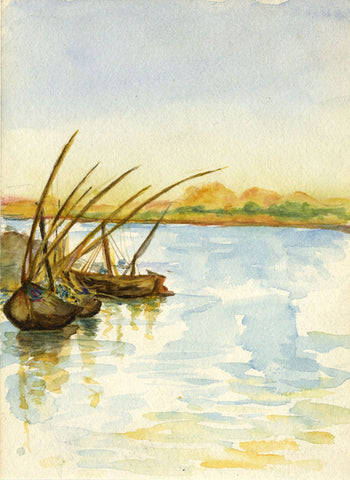 Boats by Edfu, River Nile, Egypt - Original 1900 watercolour painting