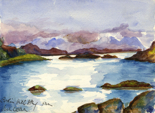Cuillin Hills, Skye, from Loch Carron - Original 1900 watercolour painting