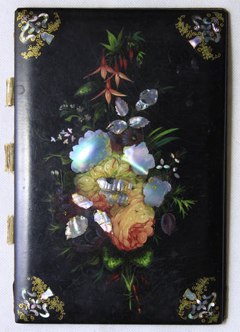 Antique Mid-19th-century Lacquer/ Papier-mâché Blotter with Mother-of-Pearl