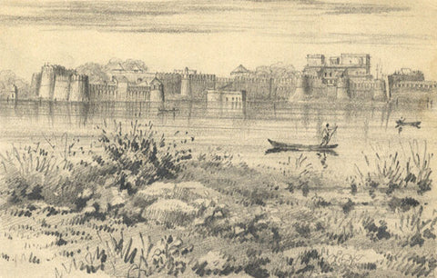 Saugor Fort, Indian Mutiny - Original mid-19th-century graphite drawing