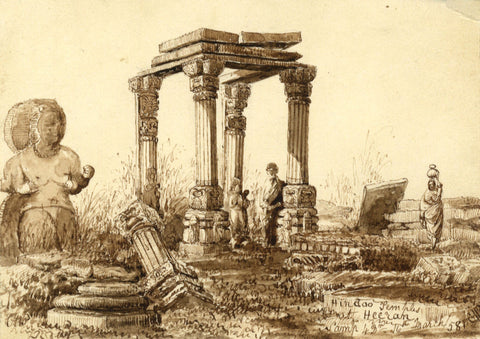 Hindoo Temple Ruins at Heerun, Indian Mutiny -Mid-19th-century pen & ink drawing