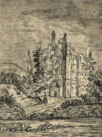 Kirkstall Abbey, Leeds - Original mid-19th-century pen & ink drawing