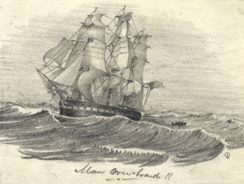 Frigate at Sea, Man Overboard! - Original mid-19th-century graphite drawing