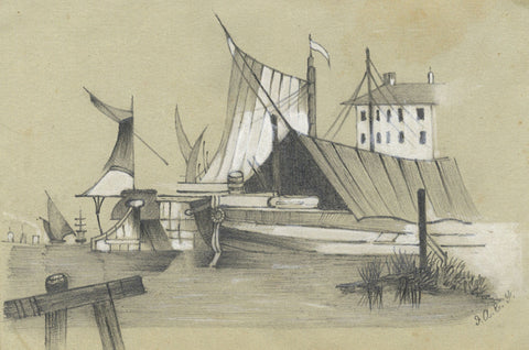 Harbour with Boats - Original mid-19th-century watercolour painting