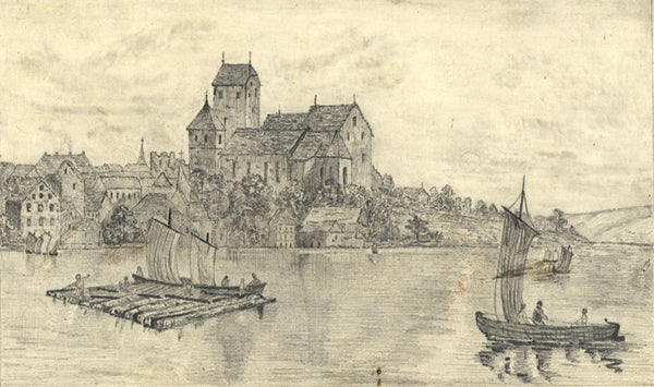Arbon from Lake Constance, Switzerland - Mid-19th-century graphite drawing