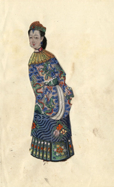 Antique Mid-19th-century Chinese Watercolour Painting on Pith -Qing Dynasty Lady