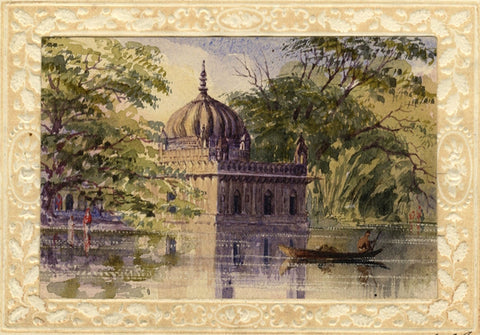 Temple in Saugor, Indian Mutiny - Original mid-19th-century watercolour painting