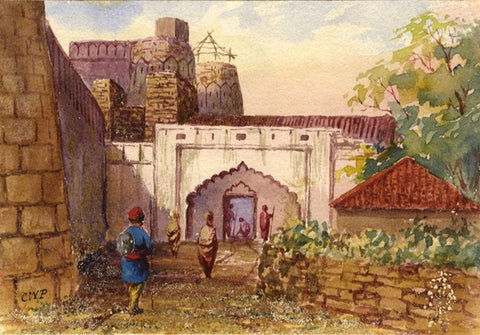 Fort at Kosai, Indian Mutiny - Original 1858 watercolour painting