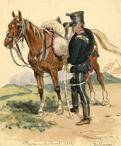 Leon Dux, Mounted Chasseur, 1812 - Original early 20th-century watercolour