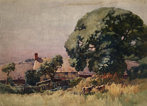 Harry Napper, Goats on a Rural Farm - Early 20th-century watercolour painting