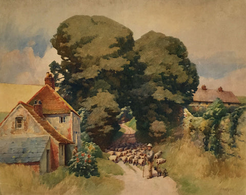 Harry Napper, The Sheep Herder's Chat - Early 20th-century watercolour painting