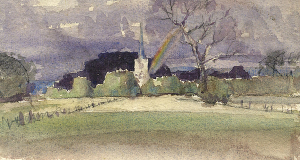 Church View with Rainbow - Original mid-20th-century watercolour painting