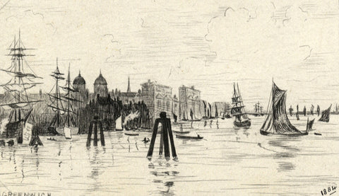 Boats in Harbour, Greenwich - Original late 19th-century pen & ink drawing
