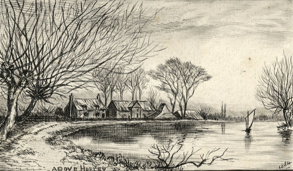 Village near Hurley, Overlooking the Thames - Original 1884 pen & ink drawing