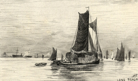 Boats at Long Reach, Gravesend, Thames - Original 1884 pen & ink drawing