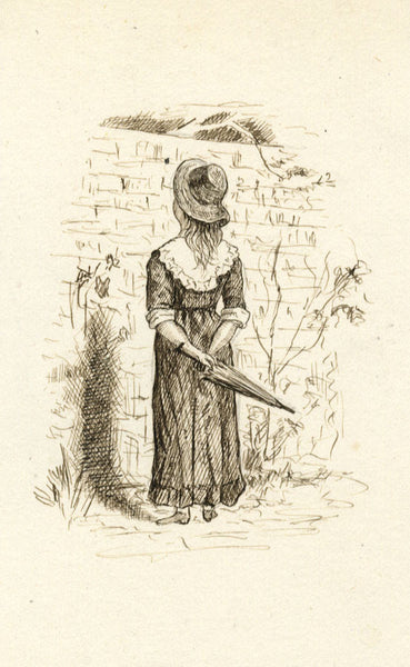 Girl in Garden with Parasol - Original late 19th-century pen & ink drawing