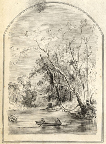 Rowboat in a Wooded Alcove - Original late 19th-century pen & ink drawing