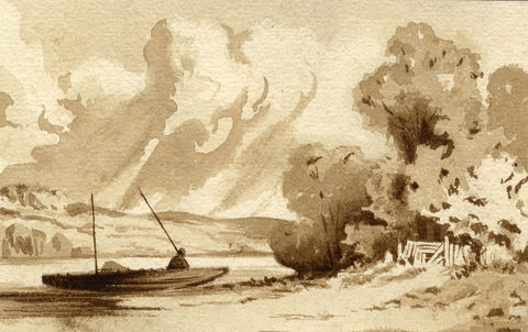 Sepia Fisherman on the Lake - Original late 19th-century watercolour painting