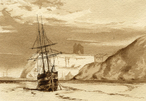 Sepia Beached Sail Boat - Original late 19th-century watercolour painting