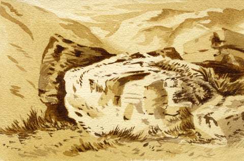 Rocky Outcrop in the Mountains - Original late 19th-century watercolour painting