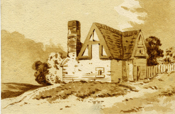 Farmhouse in a Landscape - Original late 19th-century watercolour painting