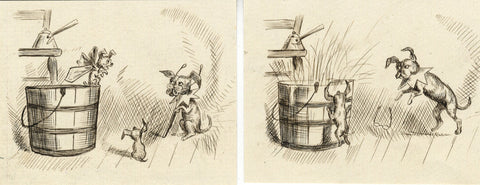 Dog in Glasses Cartoons - Original late 19th-century pen & ink drawing
