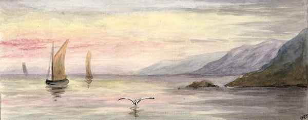 Sunset over Coastal Landscape - Original 1884 watercolour painting