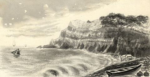 Shanklin Bay, Isle of Wight -Late 19th-century watercolour painting in grisaille