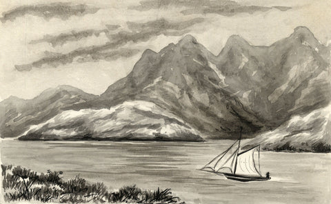 Sailboat Passing through the Mountains - Late 19th-century watercolour painting