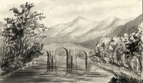 Callander Bridge, Scotland - Original late 19th-century watercolour painting