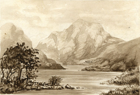 Loch Lubnaig, Scottish Highlands-Original late 19th-century watercolour painting