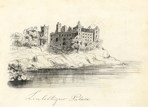 Linlithgow Palace, West Lothian, Scotland - Late 19th-century pen & ink drawing