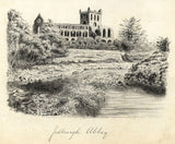 Jedburgh Abbey, Scotland - Original late 19th-century pen & ink drawing