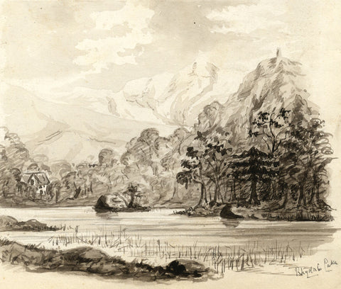 Rydal Water Lake, Cumbria - Original late 19th-century watercolour painting