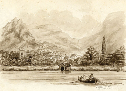 Grasmere Village and Lake, Cumbria - Late 19th-century watercolour painting