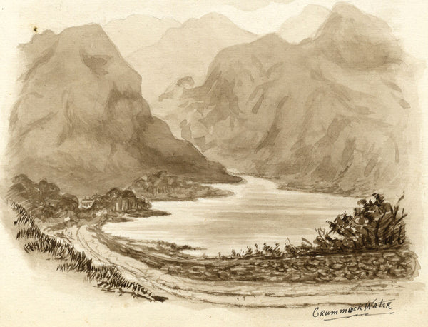 Sepia Crummock Water, Cumbria - Original late 19th-century watercolour painting