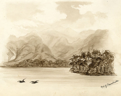 Sepia Derwent Water, Cumbria - Original late 19th-century watercolour painting
