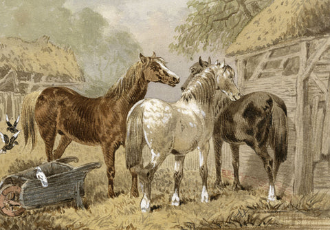 Horses at the Stable - Original late 19th-century watercolour painting