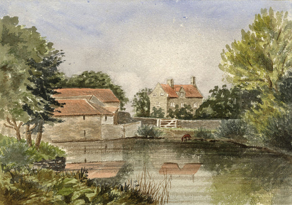 Riverside Farmstead - Original late 19th-century watercolour painting