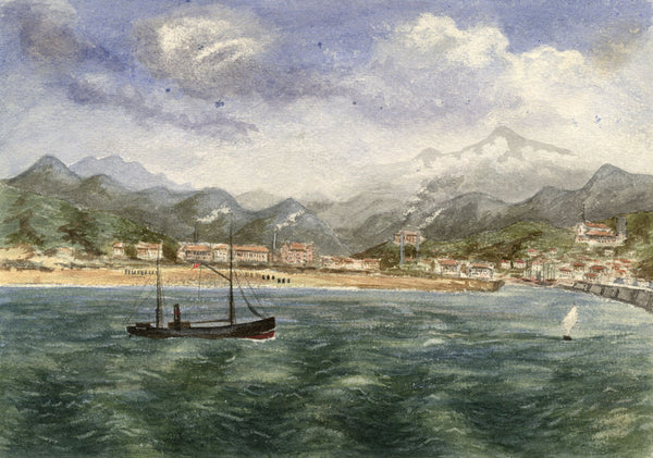 Coastal Harbour, Steamboat & Industry - Late 19th-century watercolour painting