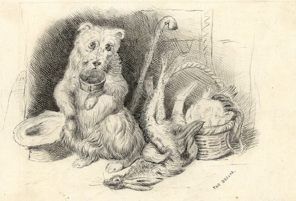 The Beggar Dog after Sir Edwin Landseer -Late 19th-century pen & ink drawing