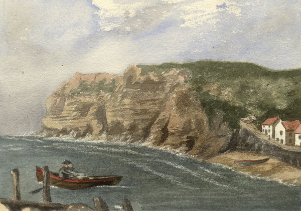 Rowboat, Runswick Bay, Yorkshire - Late 19th-century watercolour painting